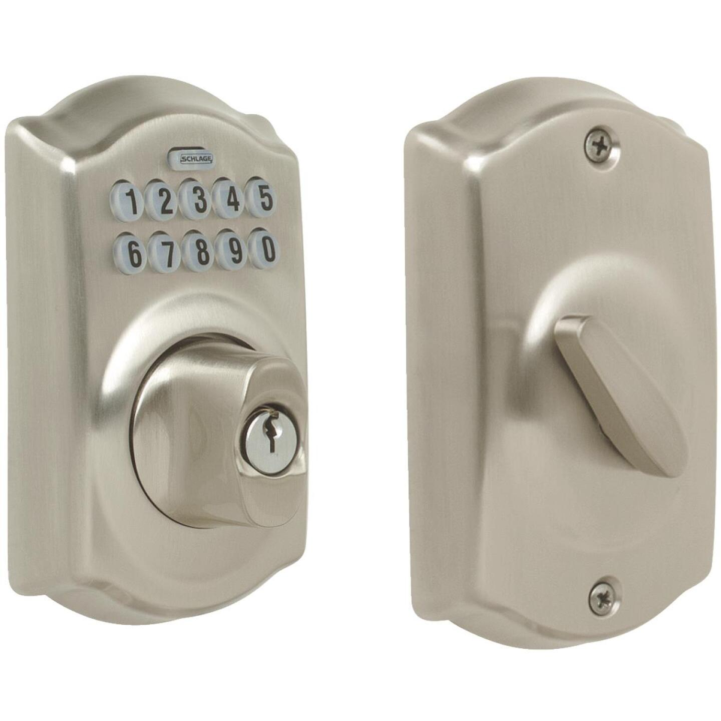 Schlage Keypad Satin Nickel Electronic Deadbolt Image 1