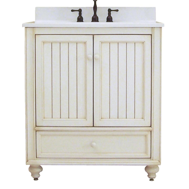 Sunny Wood Bristol Beach White 30 In. W x 34 In. H x 21 In. D Vanity Base, 2 Door/1 Drawer Image 1