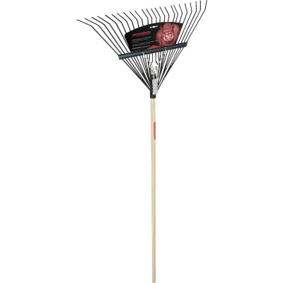 Razor-Back 24 In. Wood Handle Steel Leaf Rake (24-Tine)